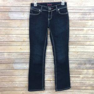 Wrangler Cowgirl Jeans Size 3/4 Boot Cut Dark Wash